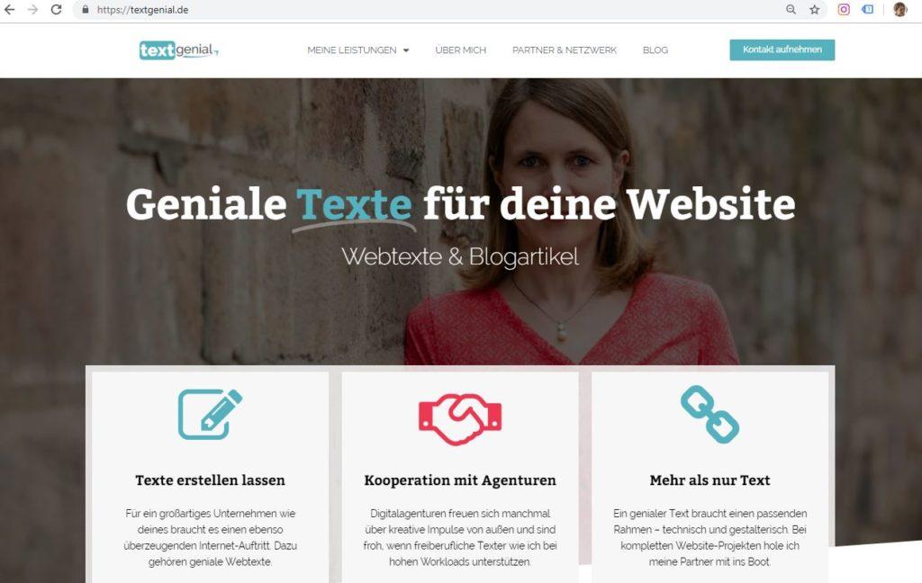 Screenshot Website textgenial.de
